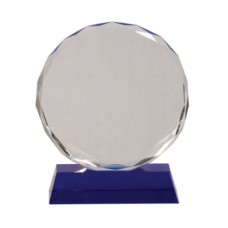 CRY501 Round Faceted Crystal on Blue Pedestal Base