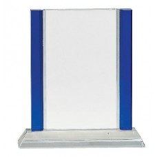 CRY241    inch Blue 2-Edge Crystal on Clear Base