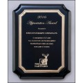 High gloss black plaque with gold florentine