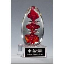 2255  Egg-Shaped Red Art Glass