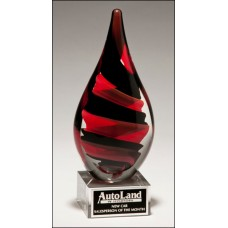 Black and Red Helix Art Glass Award