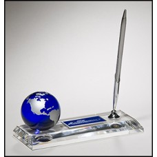 K9105  Crystal pen set with blue globe