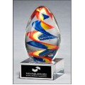 Colorful egg-shaped art glass