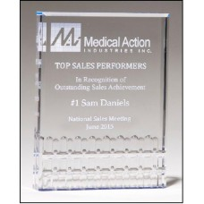 Clear Acrylic Award with Blue Highlights