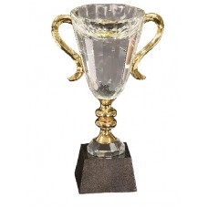 CRY039 Gold Handle Crystal Cup with Marble Base