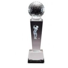 CRY293 Crystal golf trophy with 3-D Golfer Female