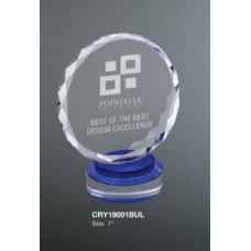 Round Crystal on Blue & Clear Round Base