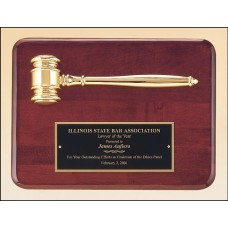 PG3751 Gold Electroplated Metal Gavel on Rosewood Piano Finish