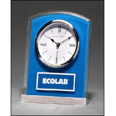 Clock with Blue Carbon Fiber Design
