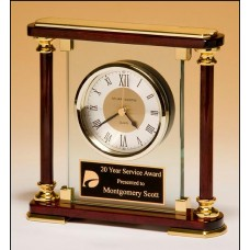 BC956 Glass and Rosewood finish Clock