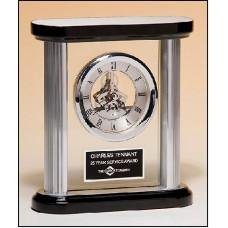 BC977  Silver Skeleton Clock