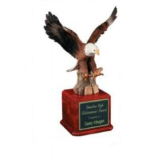 Large Painted Resin Eagle on Rosewood Base