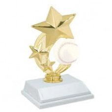 "6"" Color 3-Star Baseball Spinning award"
