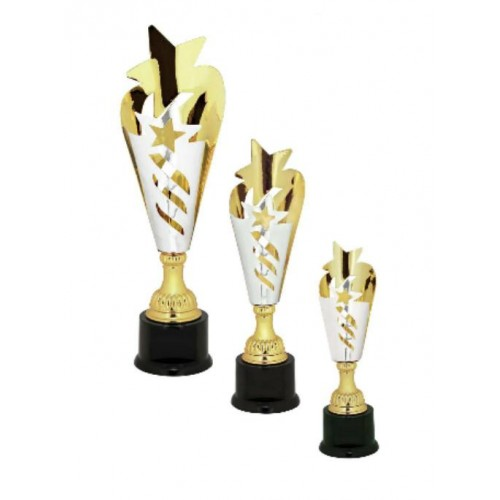 Silver Gold Star Metal Cup Trophy On Plastic Base