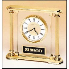 BC9 Glass Goldtone Columns Clock