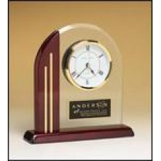 BC919 Arch Glass and Rosewood Desk Clock