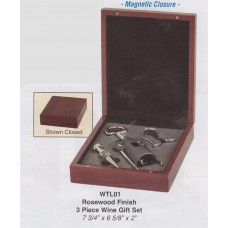 Rosewood Finish 3 piece Wine Gift Set